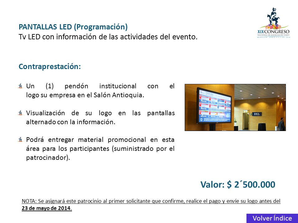 Valor: $ 2´500.000 PANTALLAS LED (Programación)