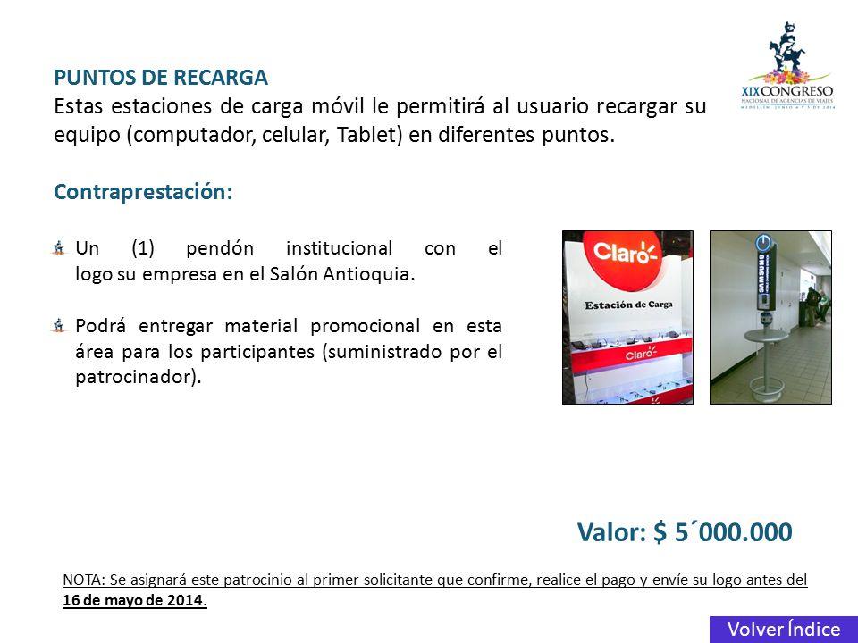 Valor: $ 5´000.000 PUNTOS DE RECARGA