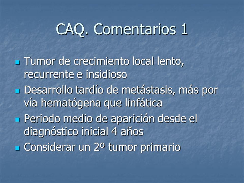CAQ. Comentarios 1 Tumor de crecimiento local lento, recurrente e insidioso. Desarrollo tardío de metástasis, más por vía hematógena que linfática.