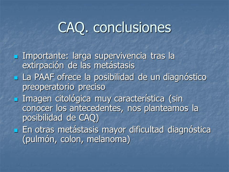 CAQ. conclusiones Importante: larga supervivencia tras la extirpación de las metástasis.