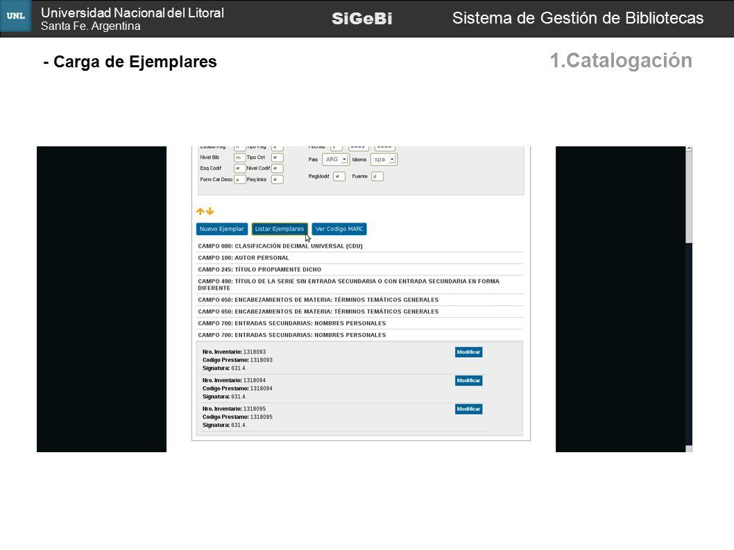 1.Catalogación SiGeBi Sistema de Gestión de Bibliotecas