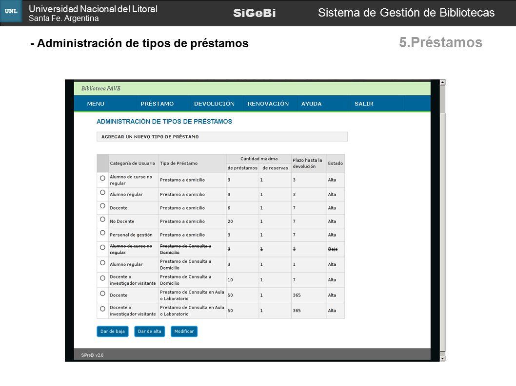 5.Préstamos SiGeBi Sistema de Gestión de Bibliotecas