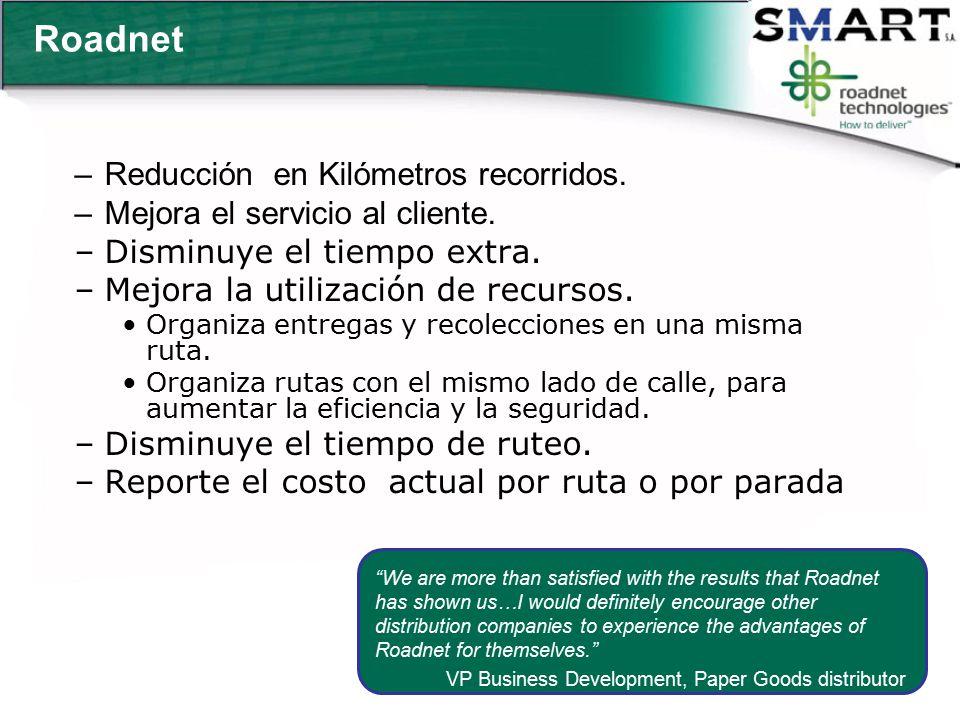 Roadnet Reducción en Kilómetros recorridos.