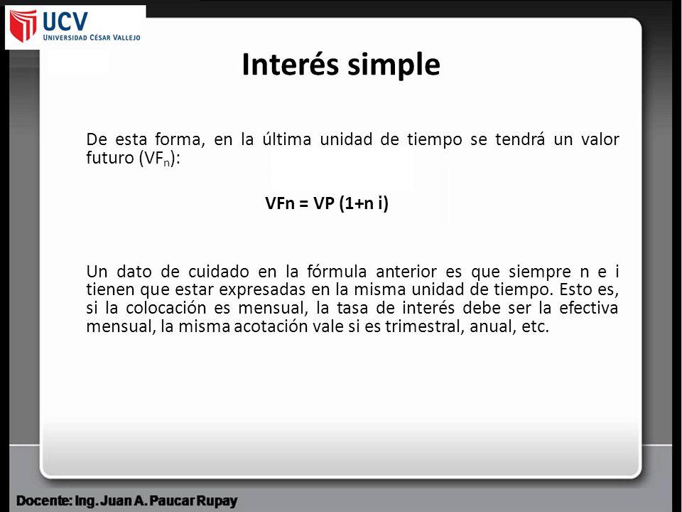 Interés simple De esta forma, en la última unidad de tiempo se tendrá un valor futuro (VFn): VFn = VP (1+n i)