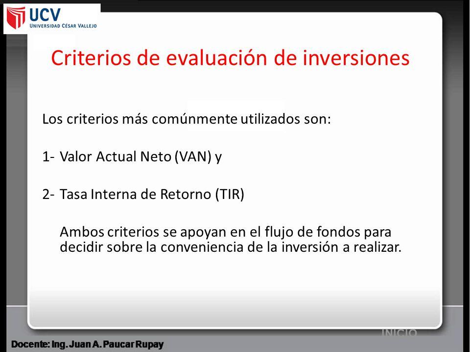 Criterios de evaluación de inversiones