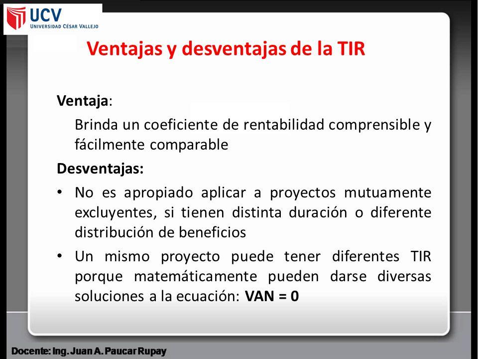 Ventajas y desventajas de la TIR