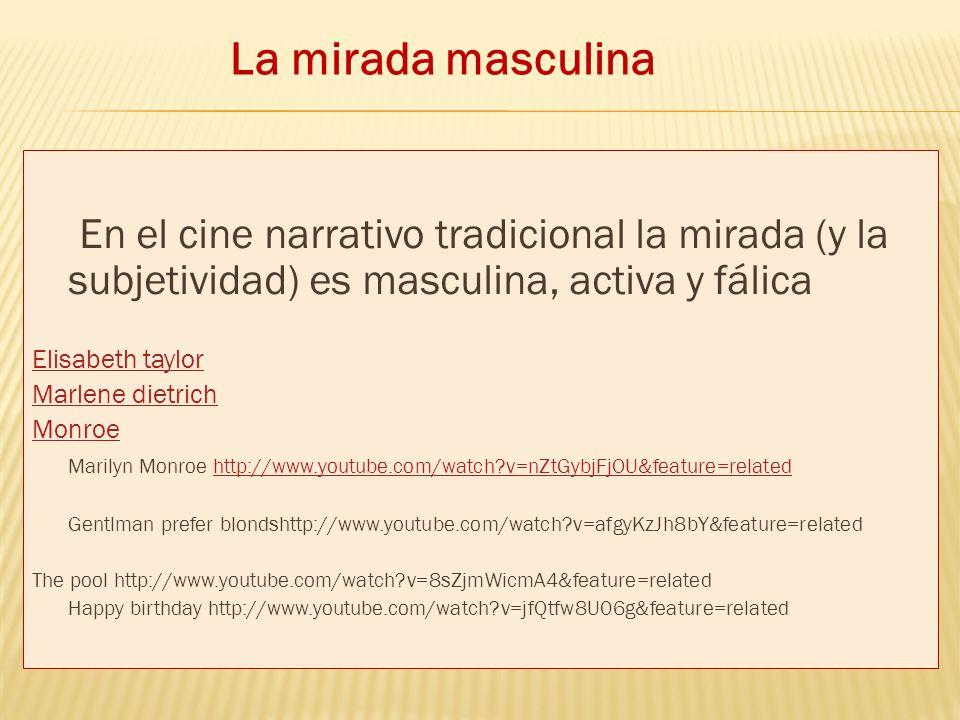 La mirada masculina En el cine narrativo tradicional la mirada (y la subjetividad) es masculina, activa y fálica.