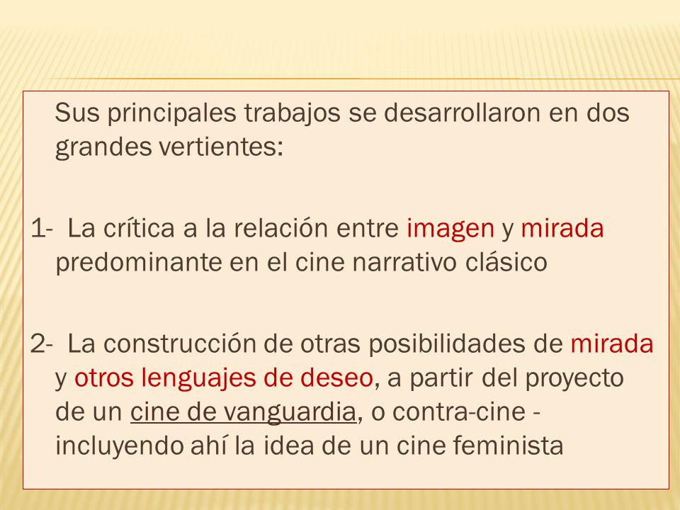 Sus principales trabajos se desarrollaron en dos grandes vertientes: 1- La crítica a la relación entre imagen y mirada predominante en el cine narrativo clásico 2- La construcción de otras posibilidades de mirada y otros lenguajes de deseo, a partir del proyecto de un cine de vanguardia, o contra-cine -incluyendo ahí la idea de un cine feminista