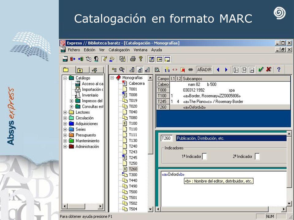 Catalogación en formato MARC