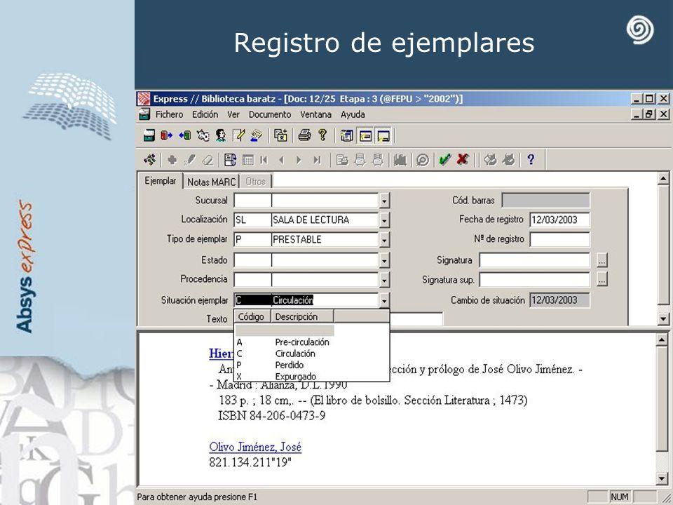 Registro de ejemplares