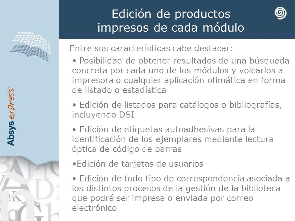 Edición de productos impresos de cada módulo