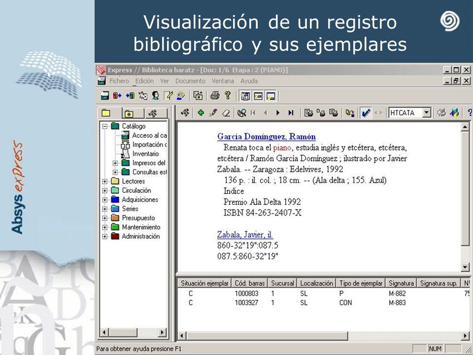 Visualización de un registro bibliográfico y sus ejemplares
