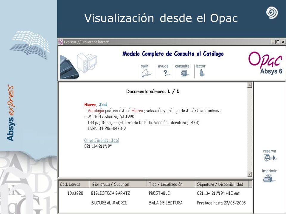Visualización desde el Opac