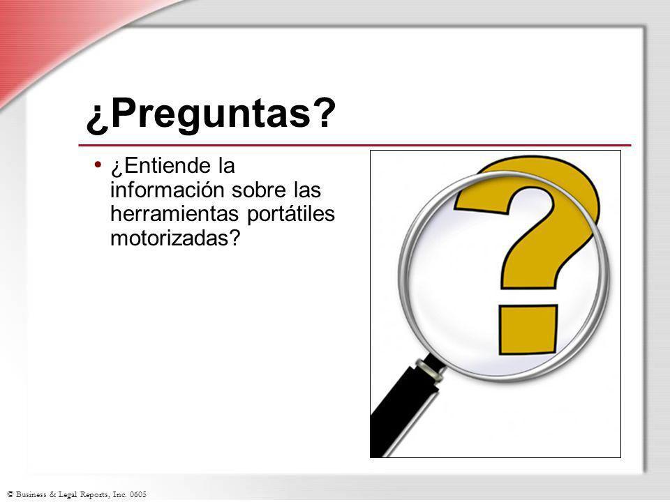 ¿Preguntas ¿Entiende la información sobre las herramientas portátiles motorizadas Slide Show Notes.