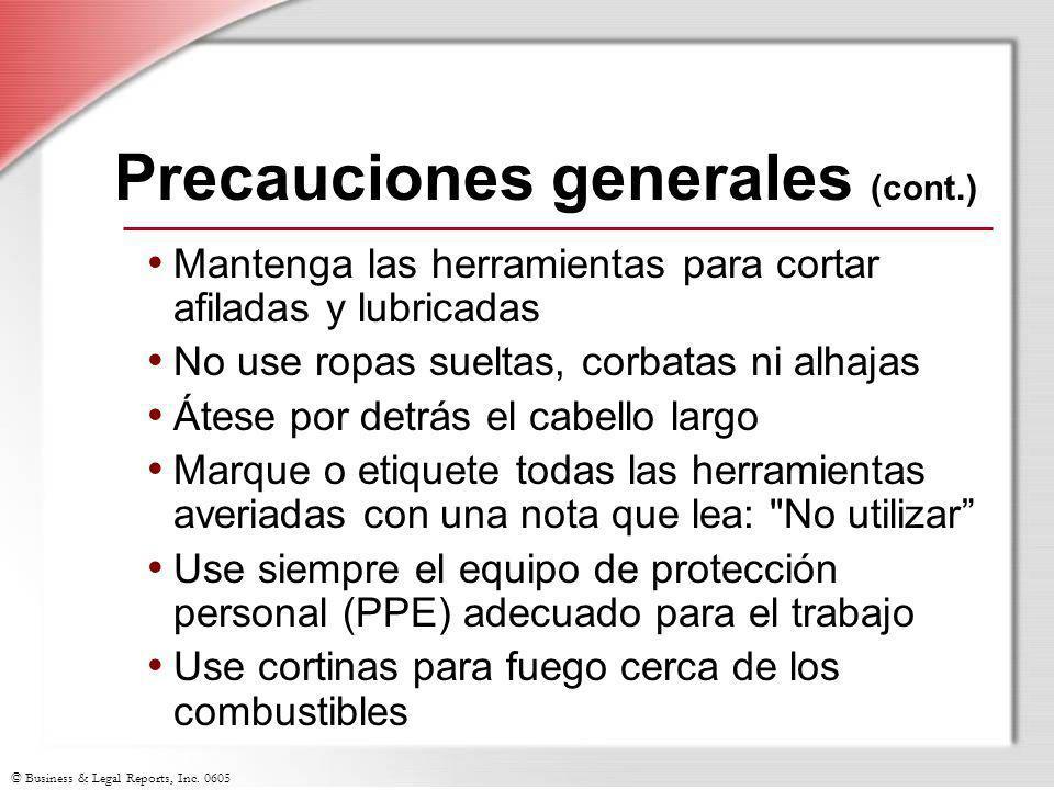 Precauciones generales (cont.)