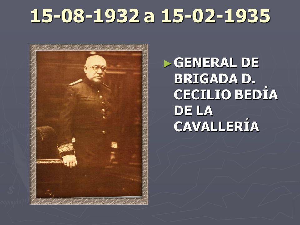 15-08-1932 a 15-02-1935 GENERAL DE BRIGADA D. CECILIO BEDÍA DE LA CAVALLERÍA