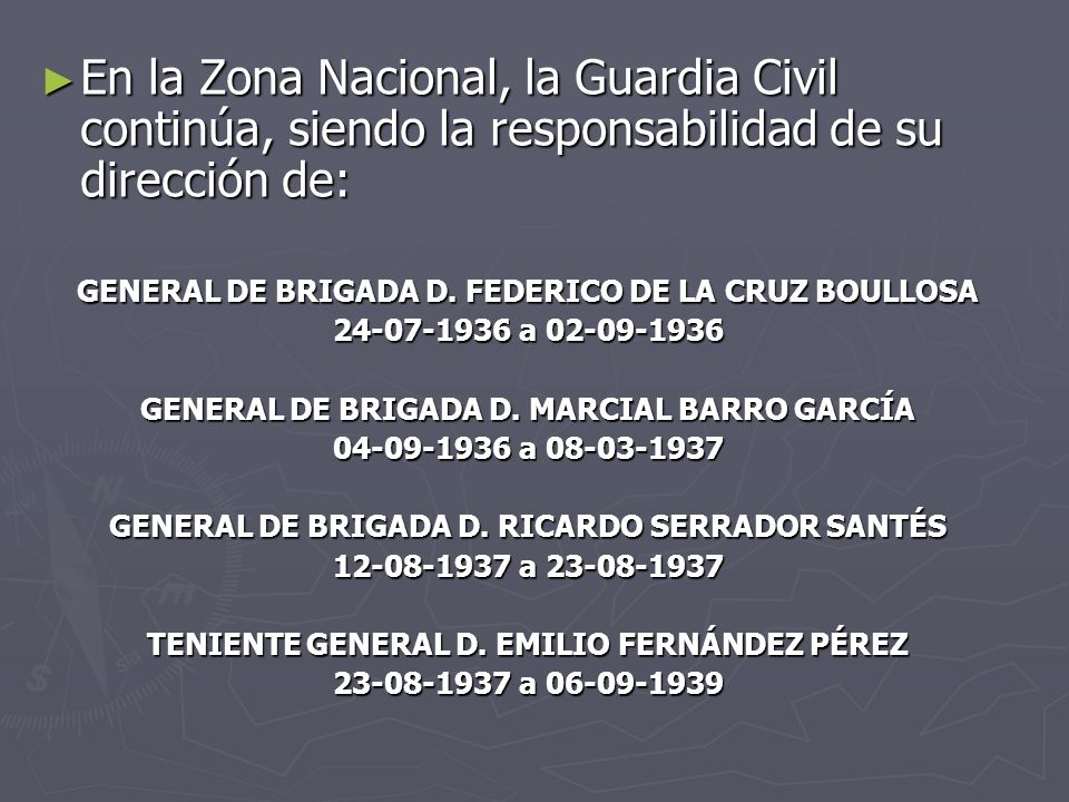 En la Zona Nacional, la Guardia Civil continúa, siendo la responsabilidad de su dirección de: