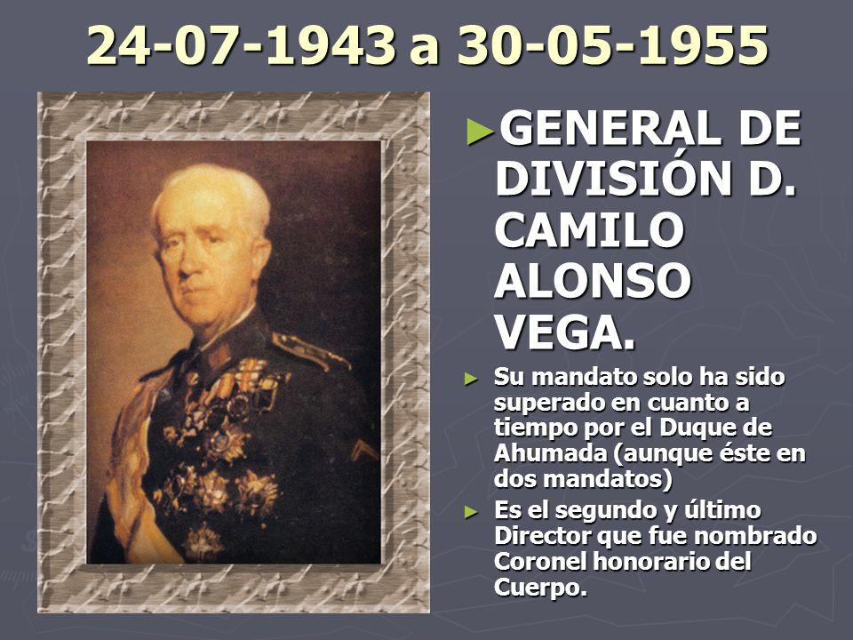 24-07-1943 a 30-05-1955 GENERAL DE DIVISIÓN D. CAMILO ALONSO VEGA.