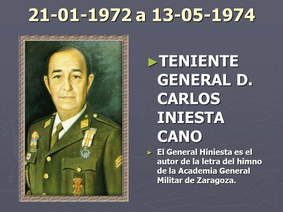 21-01-1972 a 13-05-1974 TENIENTE GENERAL D. CARLOS INIESTA CANO