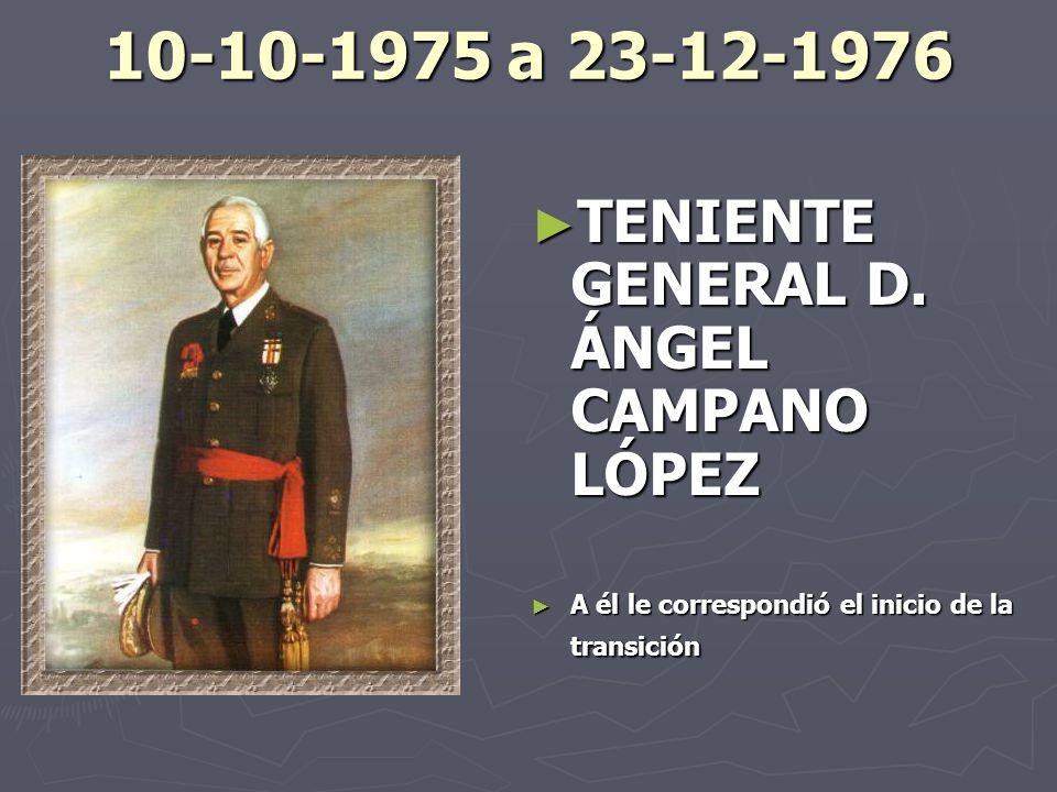 10-10-1975 a 23-12-1976 TENIENTE GENERAL D. ÁNGEL CAMPANO LÓPEZ
