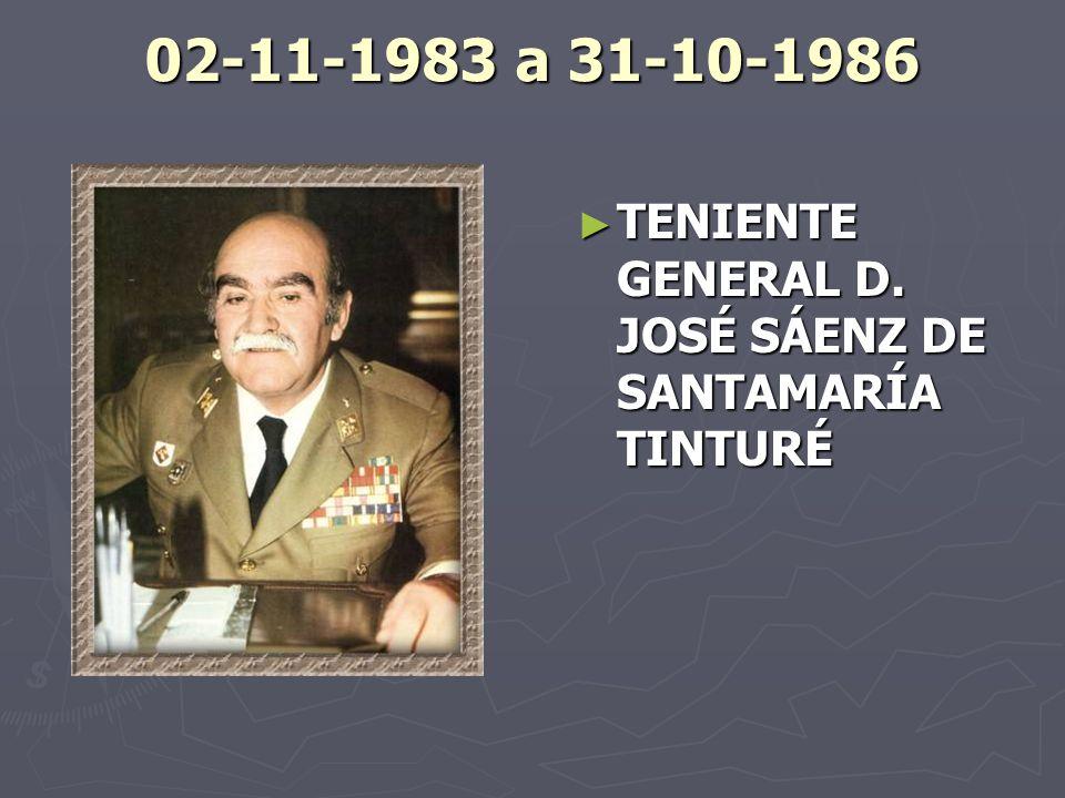02-11-1983 a 31-10-1986 TENIENTE GENERAL D. JOSÉ SÁENZ DE SANTAMARÍA TINTURÉ
