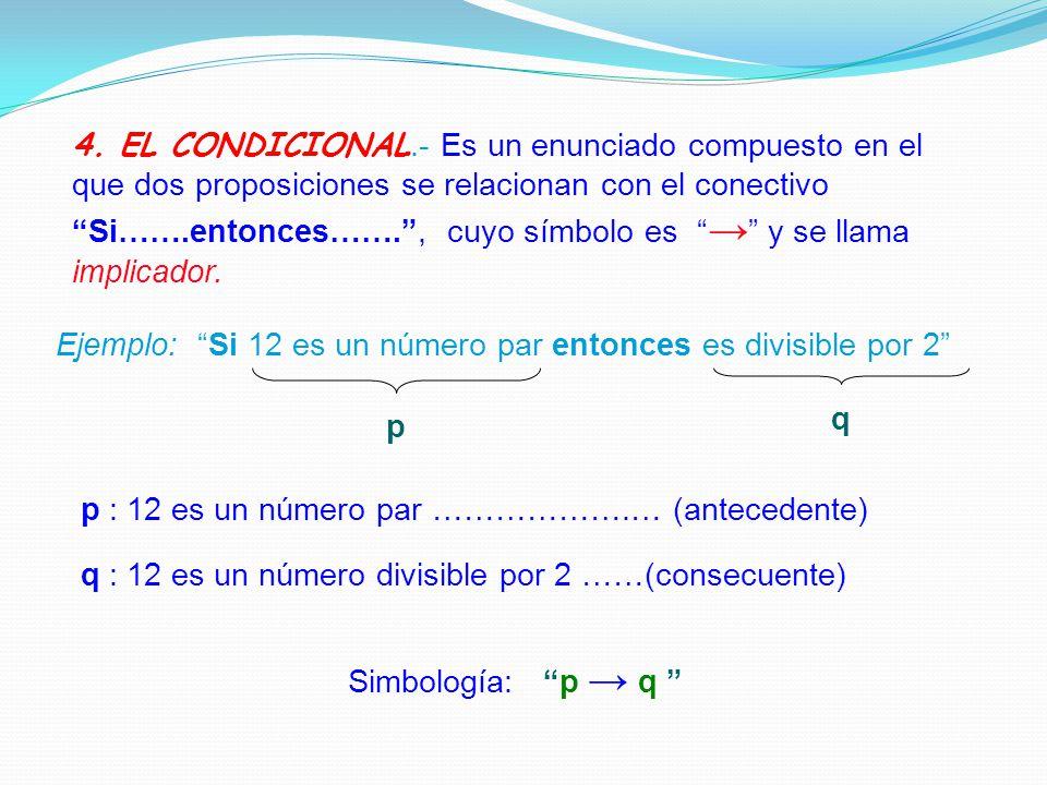 4. EL CONDICIONAL.- Es un enunciado compuesto en el que dos proposiciones se relacionan con el conectivo Si…….entonces……. , cuyo símbolo es → y se llama implicador.