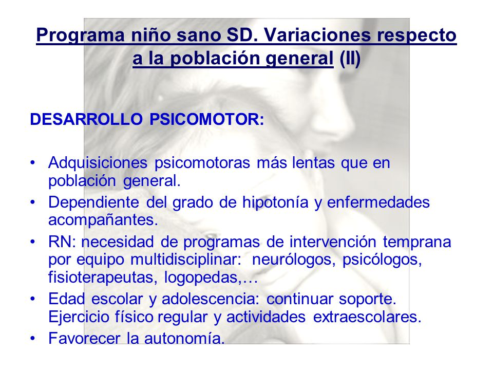 Programa niño sano SD. Variaciones respecto a la población general (II)