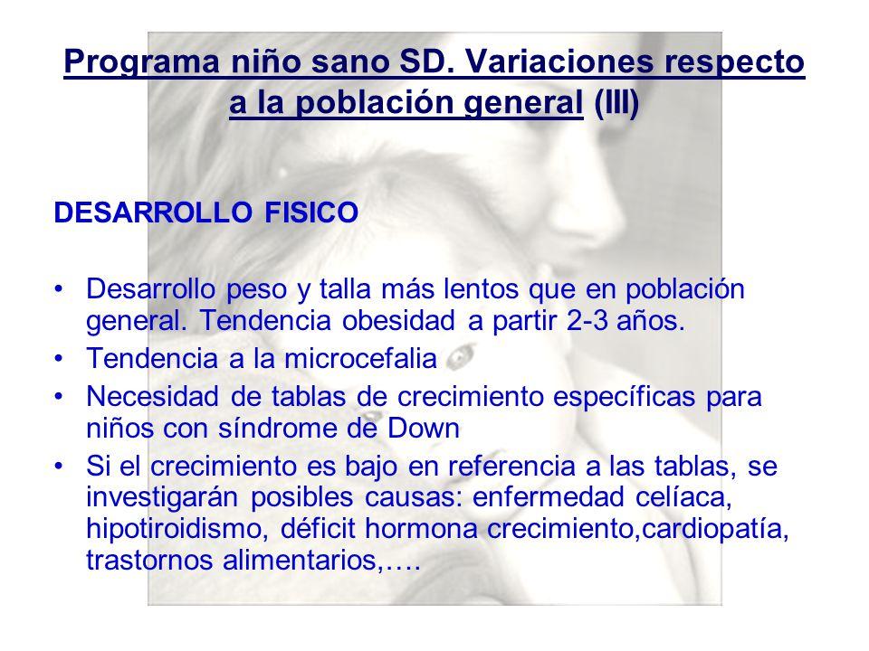 Programa niño sano SD. Variaciones respecto a la población general (III)