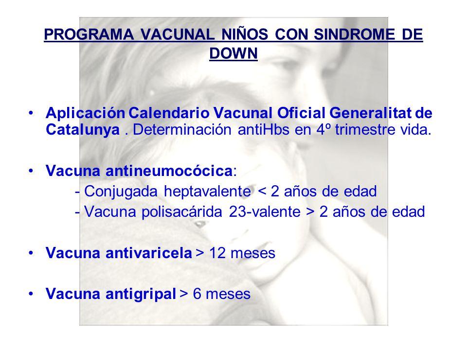 PROGRAMA VACUNAL NIÑOS CON SINDROME DE DOWN