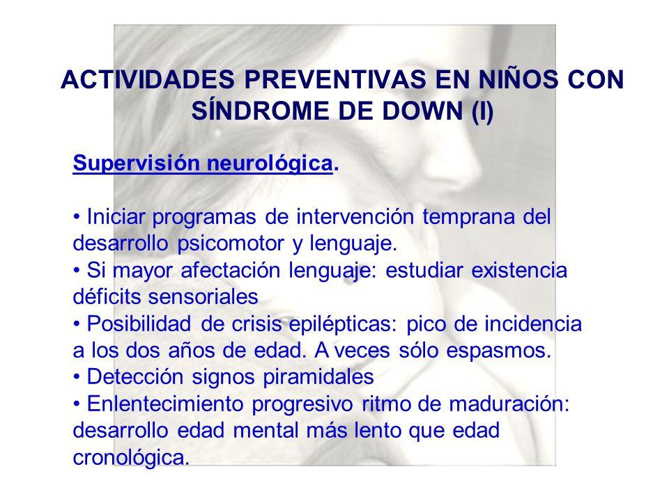 ACTIVIDADES PREVENTIVAS EN NIÑOS CON SÍNDROME DE DOWN (I)