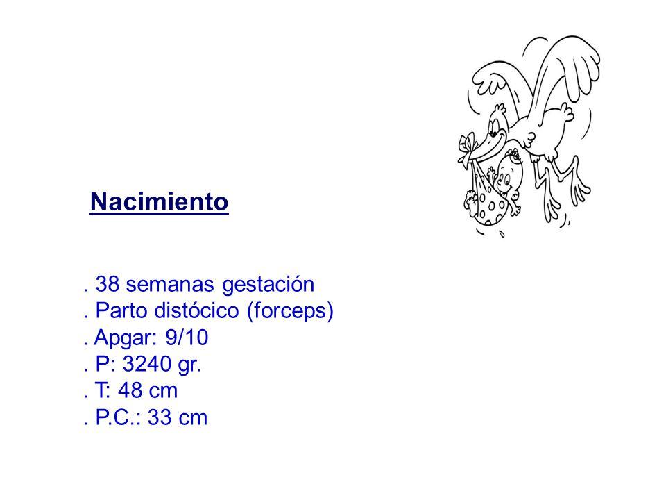 Nacimiento . 38 semanas gestación . Parto distócico (forceps)