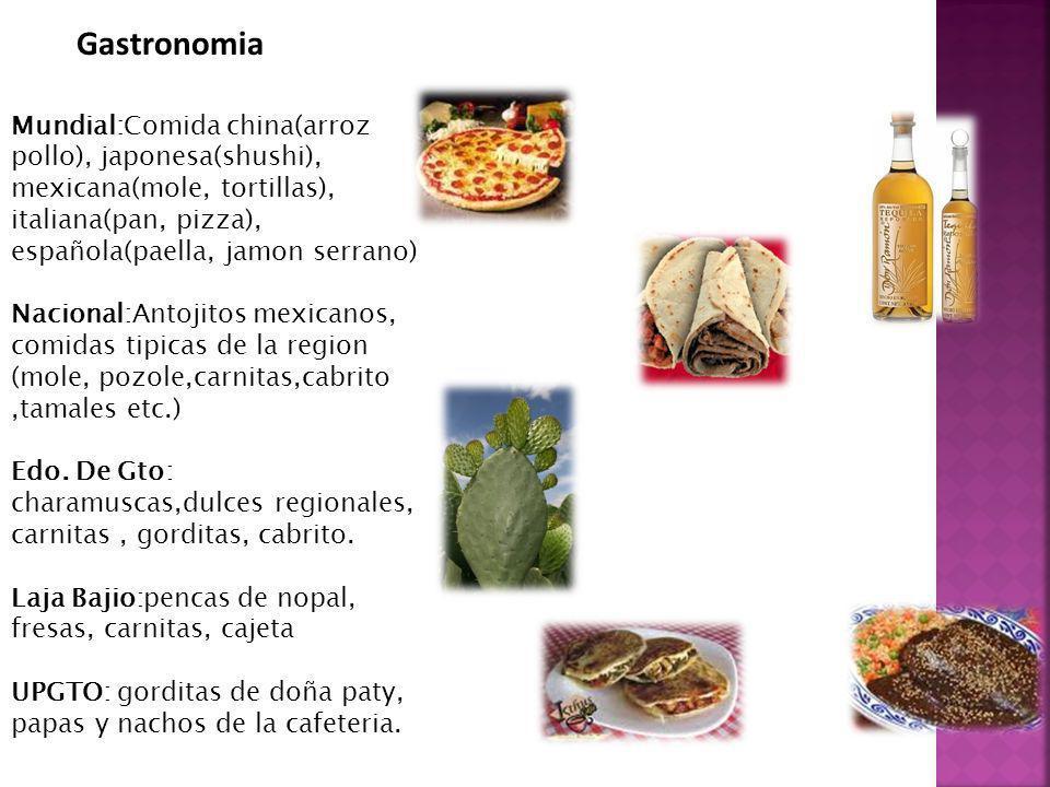 Gastronomia Mundial:Comida china(arroz pollo), japonesa(shushi), mexicana(mole, tortillas), italiana(pan, pizza), española(paella, jamon serrano)