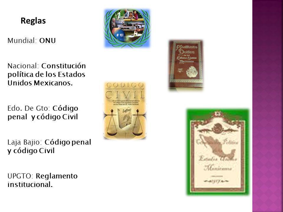 Reglas Mundial: ONU. Nacional: Constitución política de los Estados Unidos Mexicanos. Edo. De Gto: Código penal y código Civil.