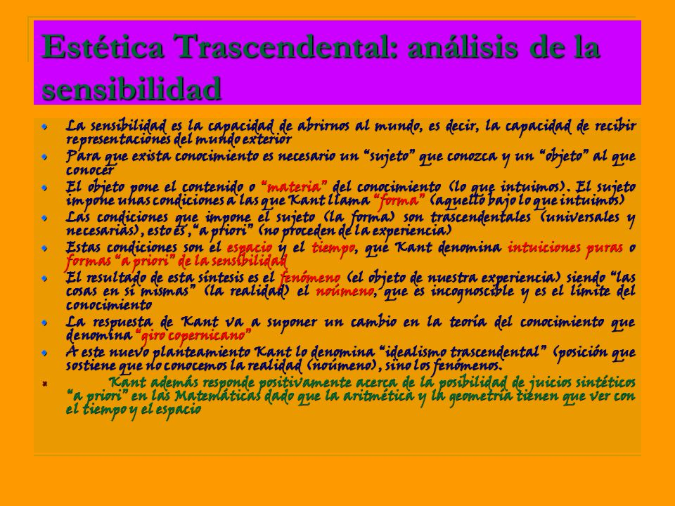 Estética Trascendental: análisis de la sensibilidad
