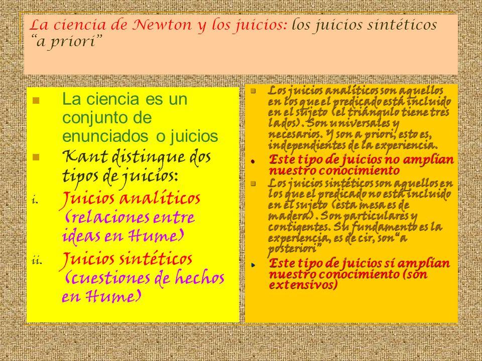 La ciencia de Newton y los juicios: los juicios sintéticos a priori