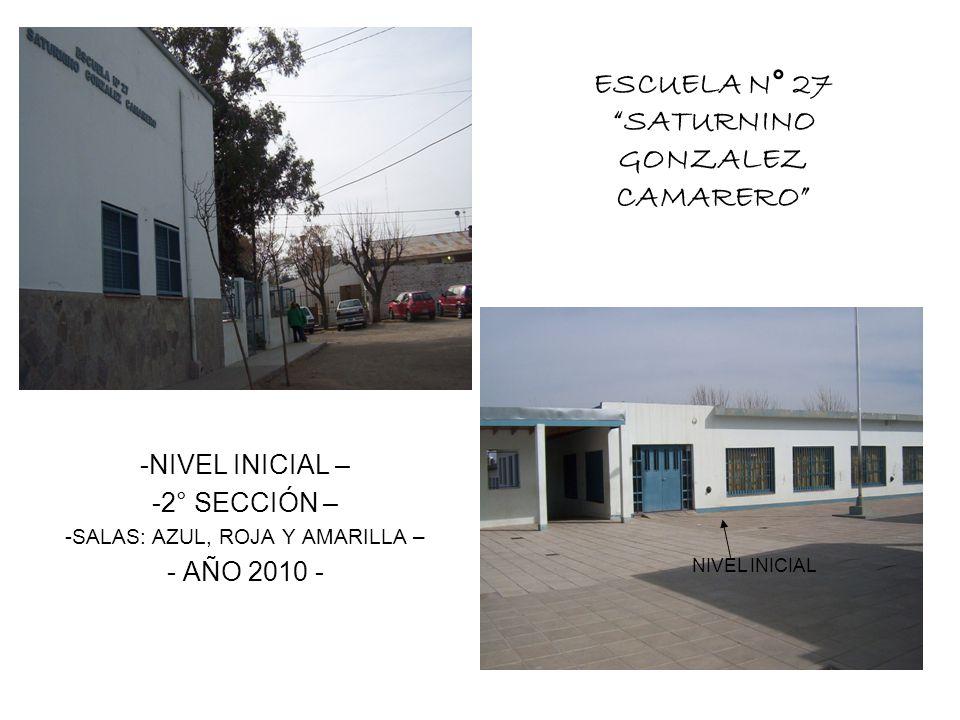 NIVEL INICIAL – 2° SECCIÓN – SALAS: AZUL, ROJA Y AMARILLA – AÑO 2010 -