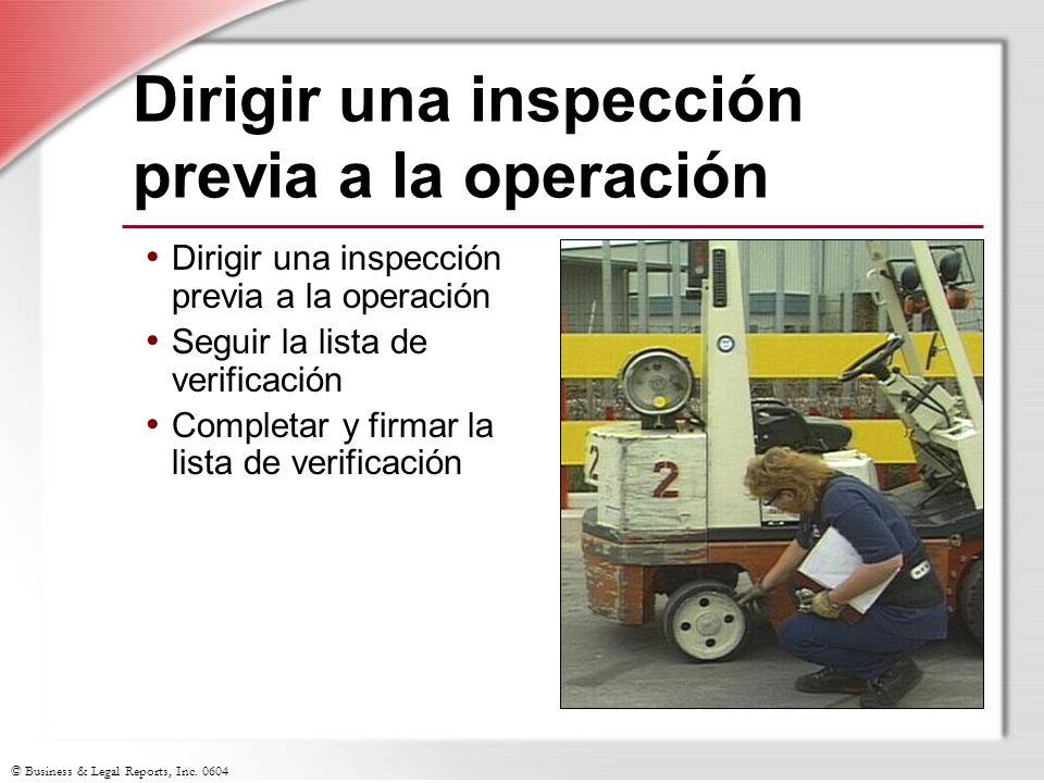 Dirigir una inspección previa a la operación