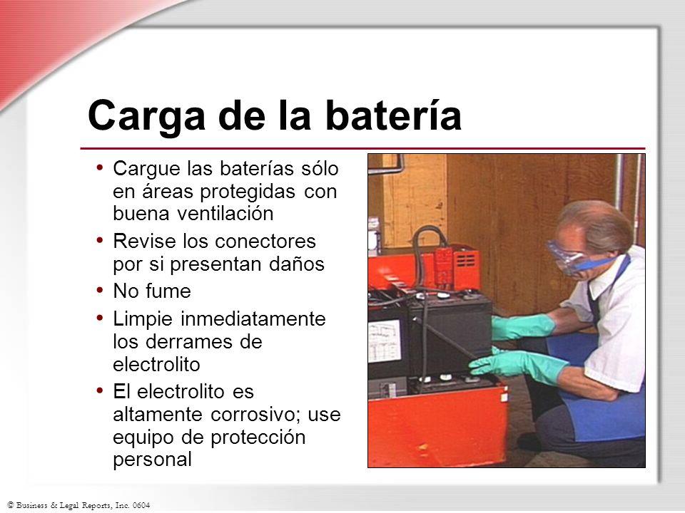 Carga de la batería Cargue las baterías sólo en áreas protegidas con buena ventilación. Revise los conectores por si presentan daños.