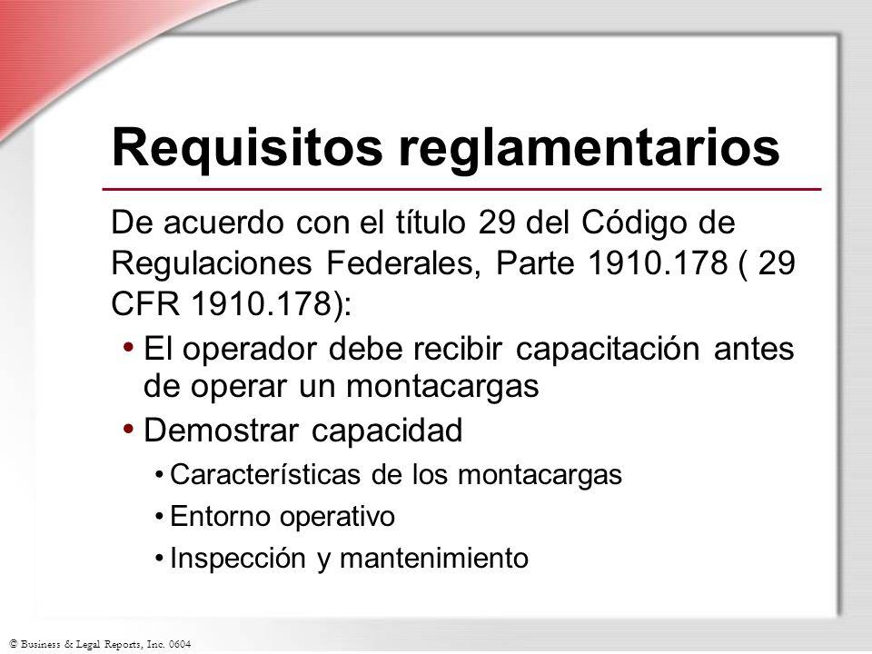 Requisitos reglamentarios