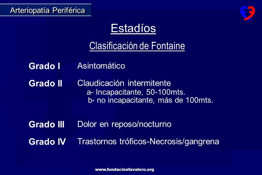 Estadíos Clasificación de Fontaine Grado I Grado II Grado III Grado IV
