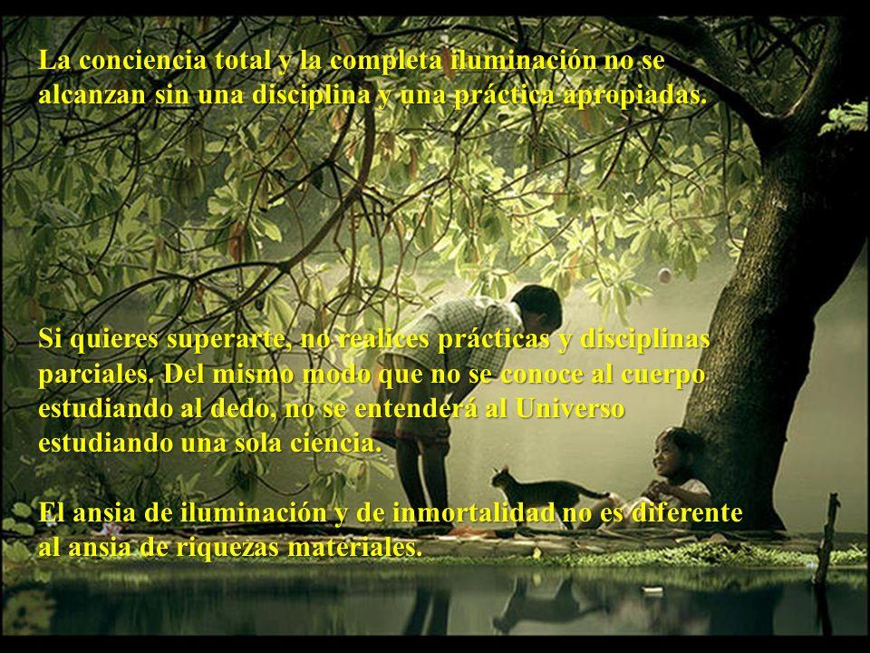 La conciencia total y la completa iluminación no se alcanzan sin una disciplina y una práctica apropiadas.