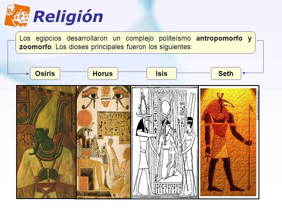 Religión Los egipcios desarrollaron un complejo politeísmo antropomorfo y zoomorfo. Los dioses principales fueron los siguientes: