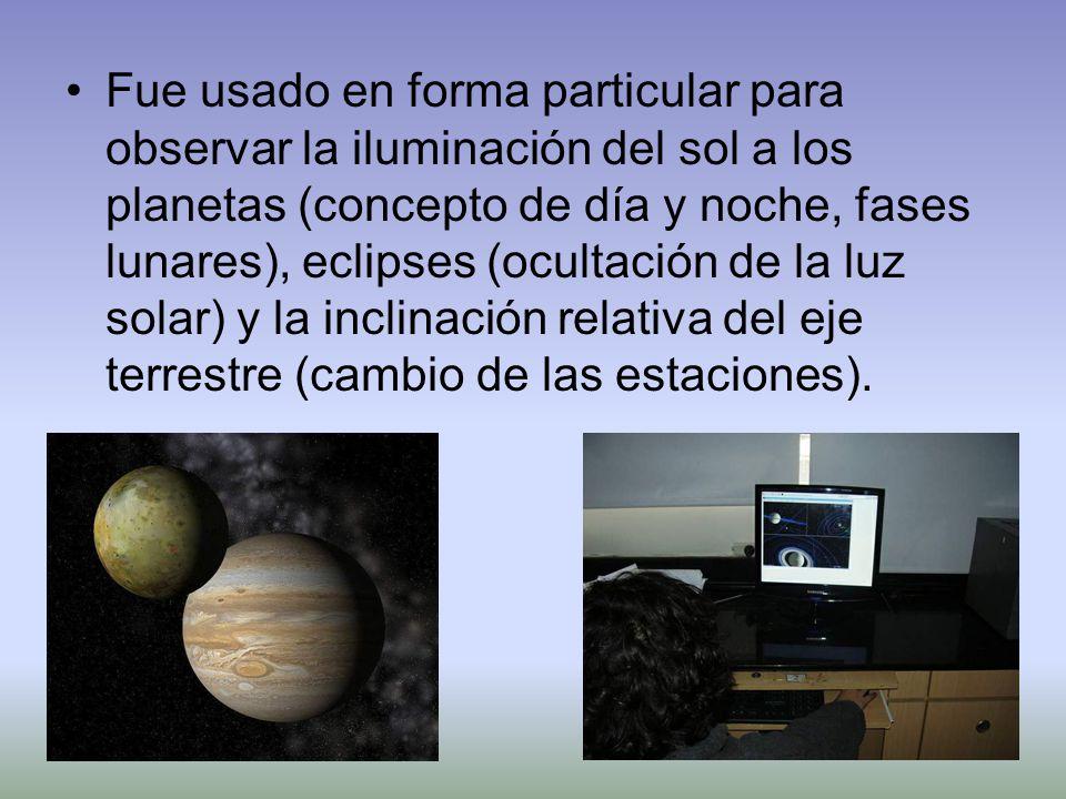 Fue usado en forma particular para observar la iluminación del sol a los planetas (concepto de día y noche, fases lunares), eclipses (ocultación de la luz solar) y la inclinación relativa del eje terrestre (cambio de las estaciones).