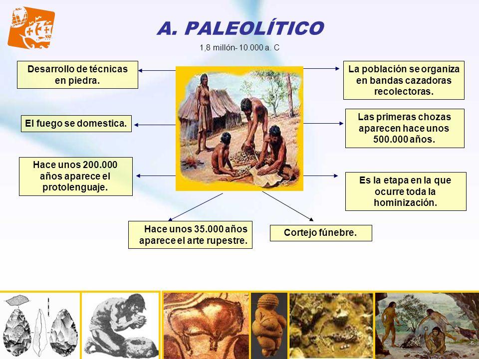 A. PALEOLÍTICO Desarrollo de técnicas en piedra.
