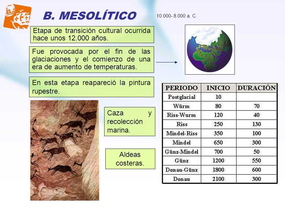 B. MESOLÍTICO 10.000- 8.000 a. C. Etapa de transición cultural ocurrida hace unos 12.000 años.