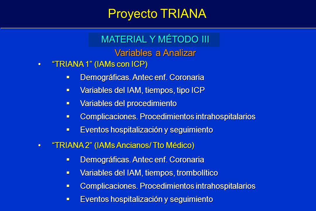 Proyecto TRIANA MATERIAL Y MÉTODO III Variables a Analizar