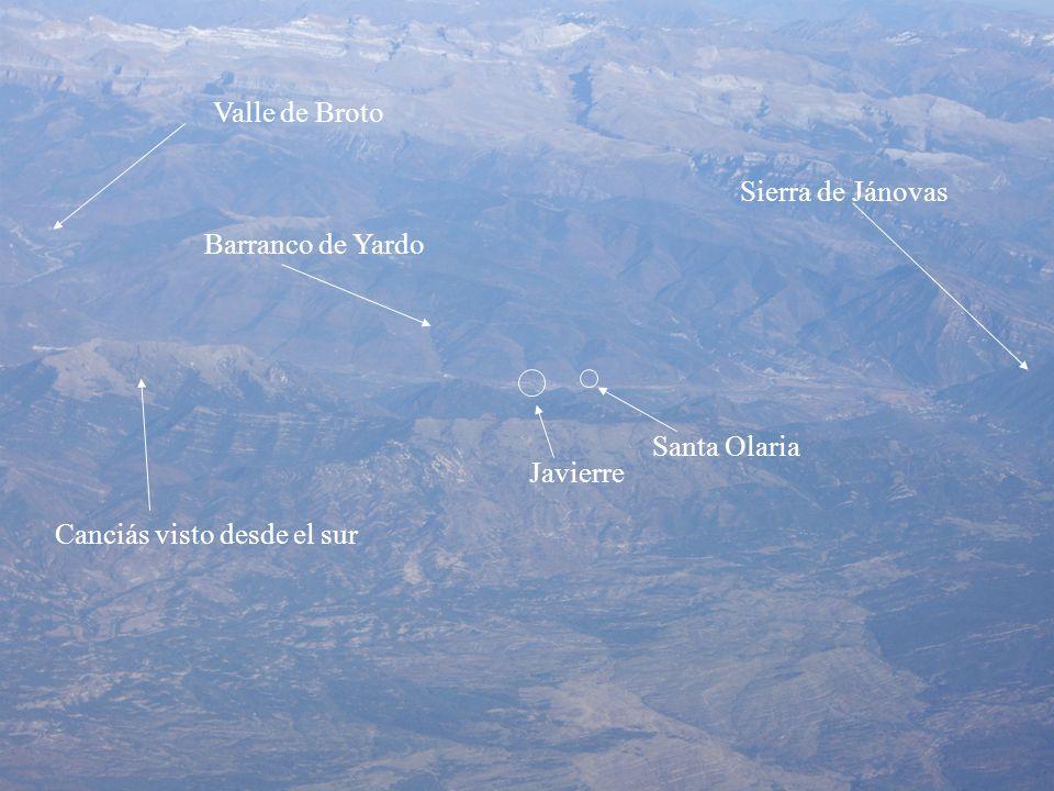 Valle de Broto Sierra de Jánovas Barranco de Yardo Santa Olaria Javierre Canciás visto desde el sur