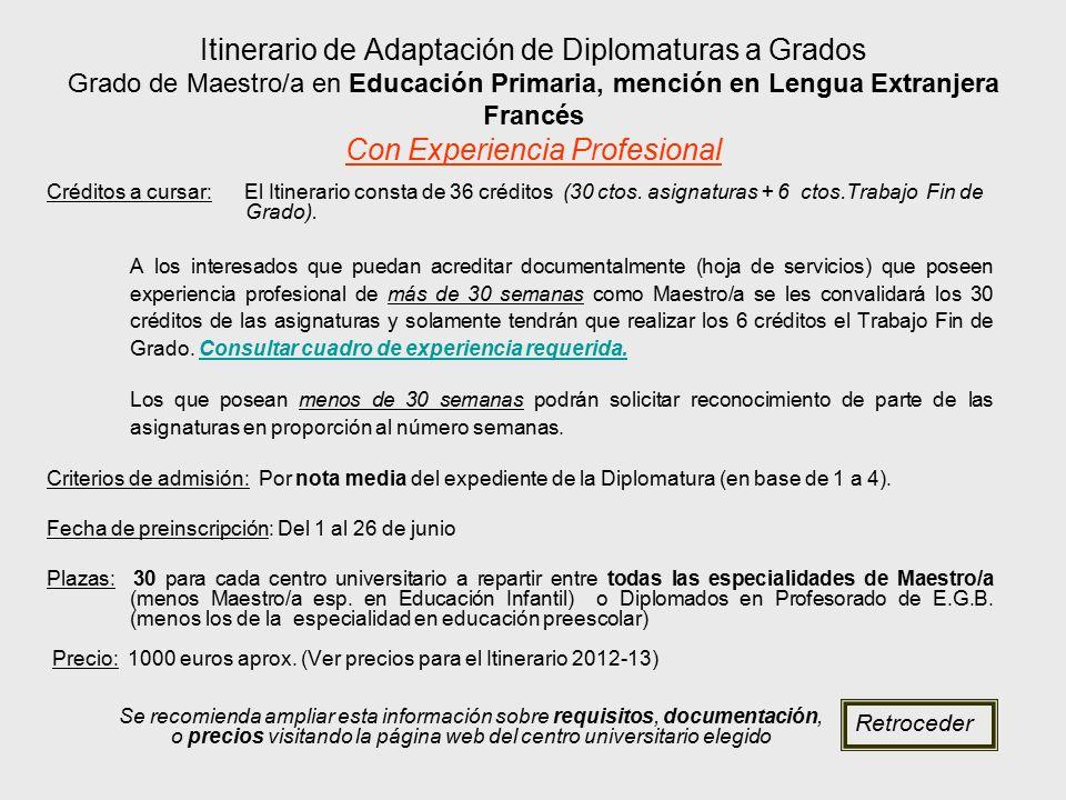 Itinerario de Adaptación de Diplomaturas a Grados Grado de Maestro/a en Educación Primaria, mención en Lengua Extranjera Francés Con Experiencia Profesional