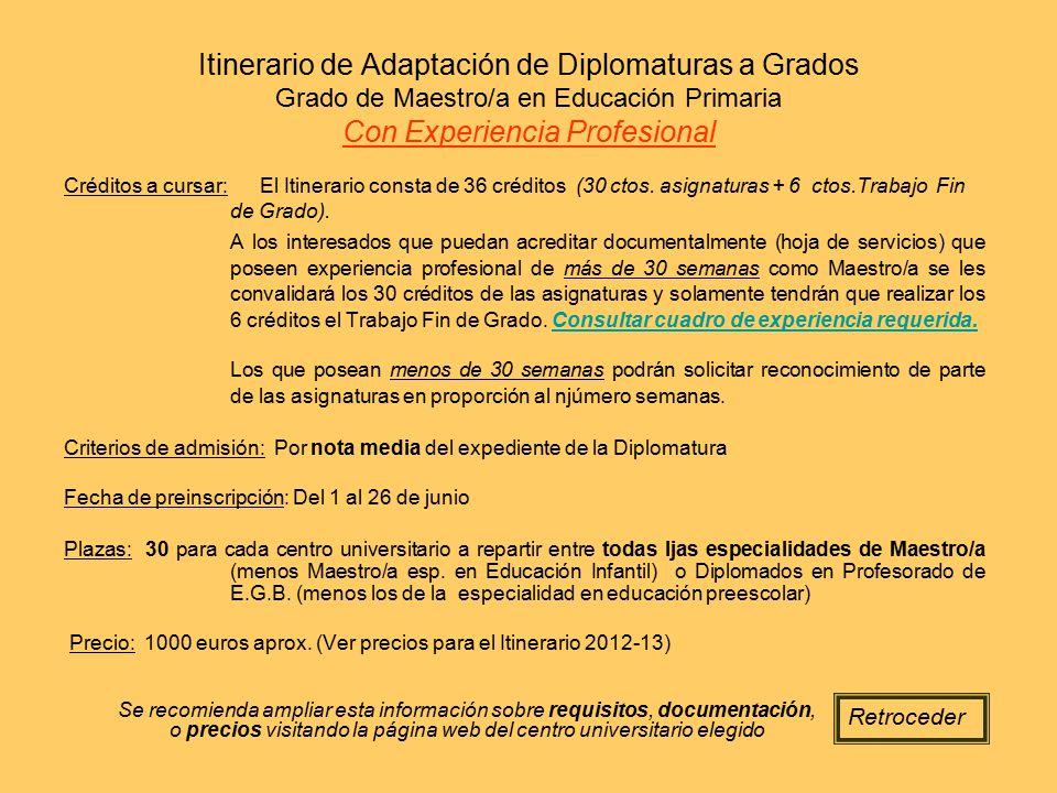 Itinerario de Adaptación de Diplomaturas a Grados Grado de Maestro/a en Educación Primaria Con Experiencia Profesional