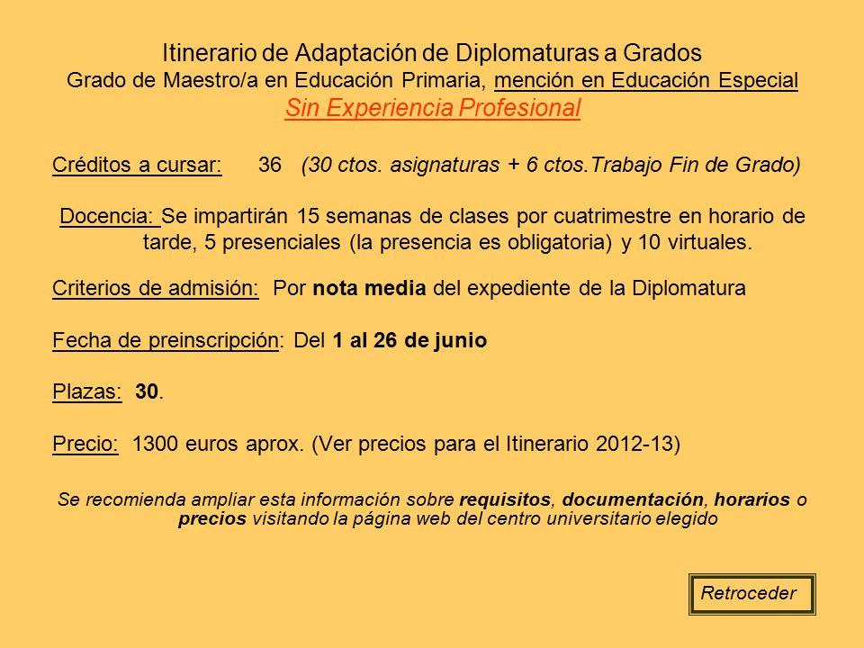 Itinerario de Adaptación de Diplomaturas a Grados Grado de Maestro/a en Educación Primaria, mención en Educación Especial Sin Experiencia Profesional